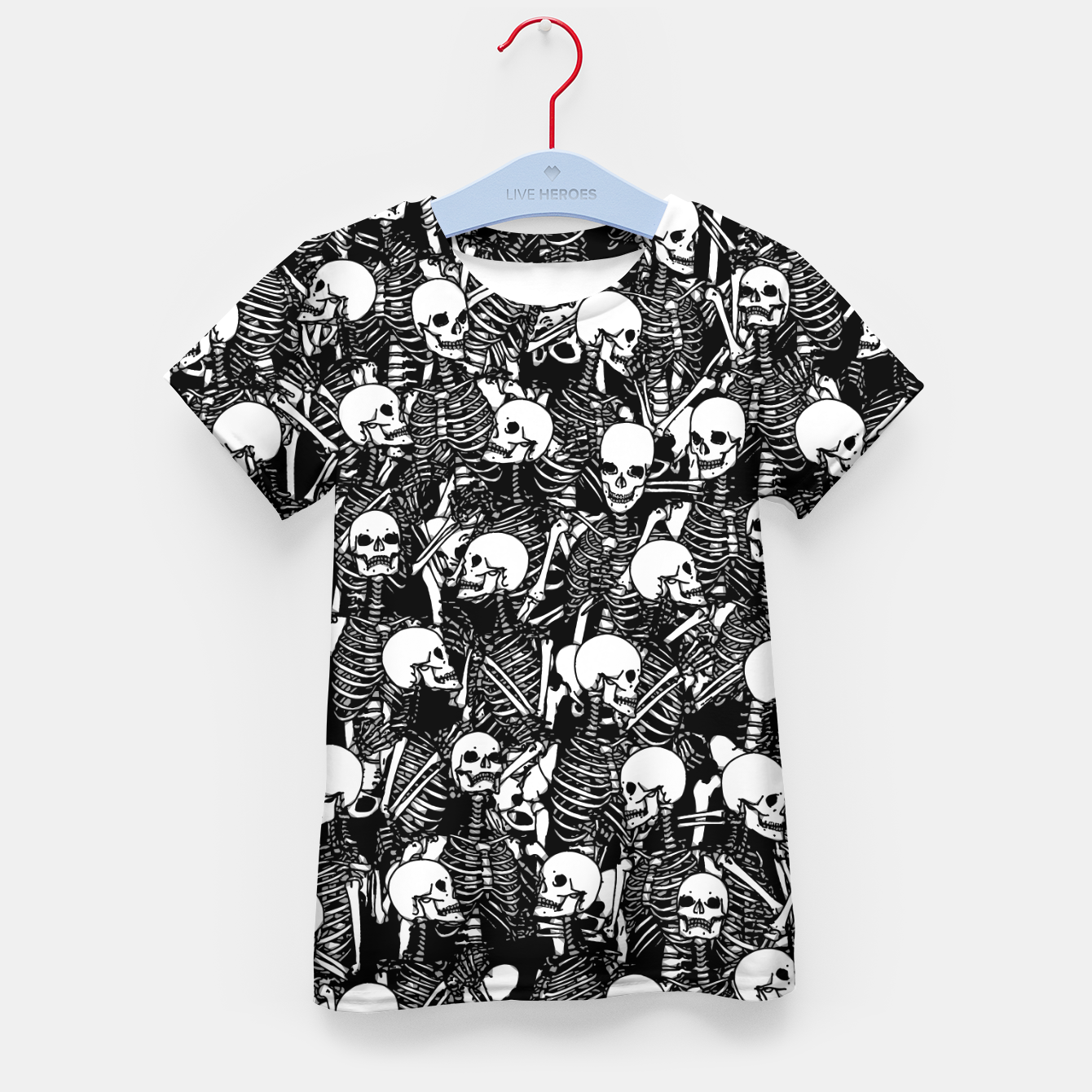 Foto Restless Audience Gothic Skeleton Halloween Horror Pattern Kid's t-shirt - Live Heroes