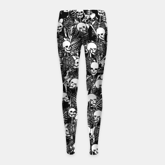 Miniatur Restless Audience Gothic Skeleton Halloween Horror Pattern Girl's leggings, Live Heroes
