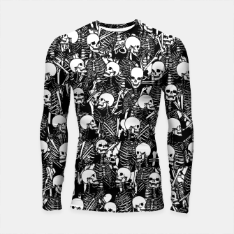 Thumbnail image of Restless Audience Gothic Skeleton Halloween Horror Pattern Longsleeve rashguard , Live Heroes