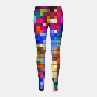Thumbnail image of COLOURED SQUARED Girl's leggings, Live Heroes