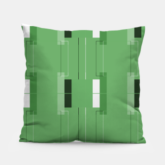 Thumbnail image of White Hairline - Warm Green Squares Pillow, Live Heroes