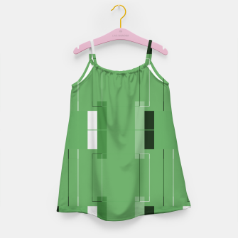 Thumbnail image of White Hairline - Warm Green Squares Girl's dress, Live Heroes