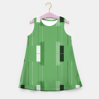Thumbnail image of White Hairline - Warm Green Squares Girl's summer dress, Live Heroes