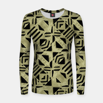 Thumbnail image of Gold and Black Linear Geometric Pattern Women sweater, Live Heroes