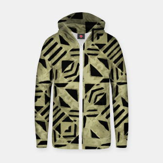 Thumbnail image of Gold and Black Linear Geometric Pattern Zip up hoodie, Live Heroes