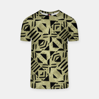 Thumbnail image of Gold and Black Linear Geometric Pattern T-shirt, Live Heroes