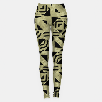 Thumbnail image of Gold and Black Linear Geometric Pattern Leggings, Live Heroes