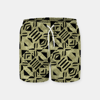 Thumbnail image of Gold and Black Linear Geometric Pattern Swim Shorts, Live Heroes
