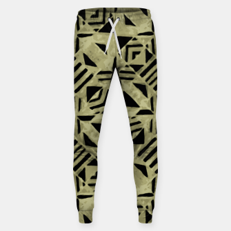 Thumbnail image of Gold and Black Linear Geometric Pattern Sweatpants, Live Heroes