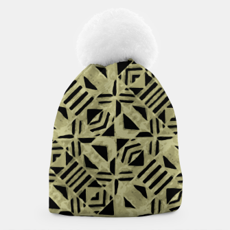 Thumbnail image of Gold and Black Linear Geometric Pattern Beanie, Live Heroes