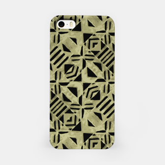 Thumbnail image of Gold and Black Linear Geometric Pattern iPhone Case, Live Heroes