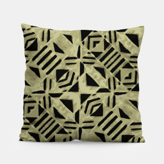 Thumbnail image of Gold and Black Linear Geometric Pattern Pillow, Live Heroes