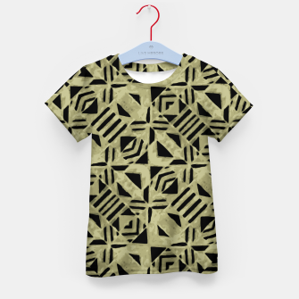 Thumbnail image of Gold and Black Linear Geometric Pattern Kid's t-shirt, Live Heroes