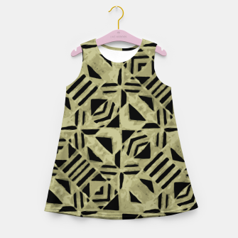 Thumbnail image of Gold and Black Linear Geometric Pattern Girl's summer dress, Live Heroes