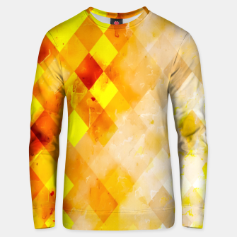Thumbnail image of geometric pixel square pattern abstract in brown and yellow Unisex sweater, Live Heroes
