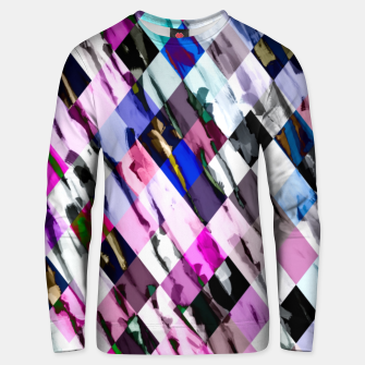 Thumbnail image of geometric pixel square pattern abstract in purple blue pink Unisex sweater, Live Heroes