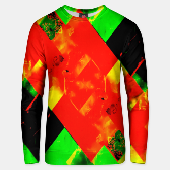 Thumbnail image of geometric pixel square pattern abstract in red green yellow Unisex sweater, Live Heroes