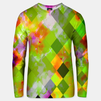 Thumbnail image of geometric pixel square pattern abstract in green purple red Unisex sweater, Live Heroes
