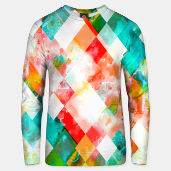 Thumbnail image of geometric pixel square pattern abstract in green orange blue Unisex sweater, Live Heroes