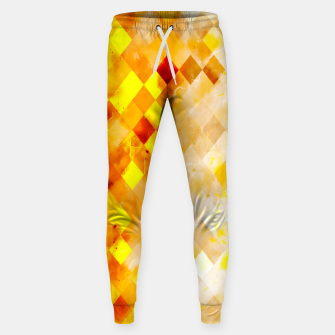 Thumbnail image of geometric pixel square pattern abstract in brown and yellow Sweatpants, Live Heroes