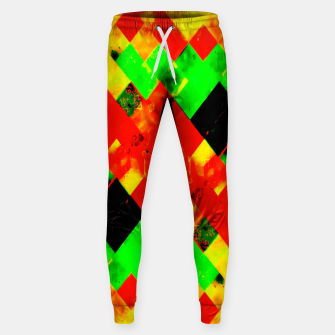 Thumbnail image of geometric pixel square pattern abstract in red green yellow Sweatpants, Live Heroes