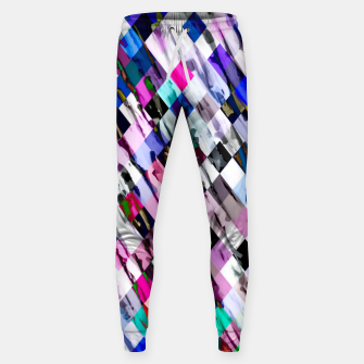 Thumbnail image of geometric pixel square pattern abstract in purple blue pink Sweatpants, Live Heroes