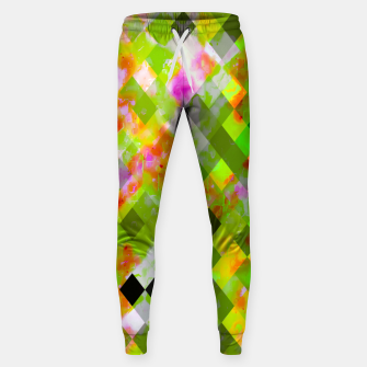 Thumbnail image of geometric pixel square pattern abstract in green purple red Sweatpants, Live Heroes