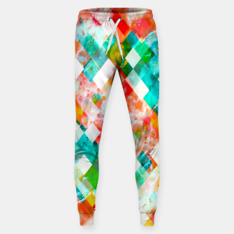 Thumbnail image of geometric pixel square pattern abstract in green orange blue Sweatpants, Live Heroes