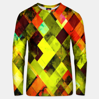 Thumbnail image of geometric pixel square pattern abstract in green yellow orange Unisex sweater, Live Heroes