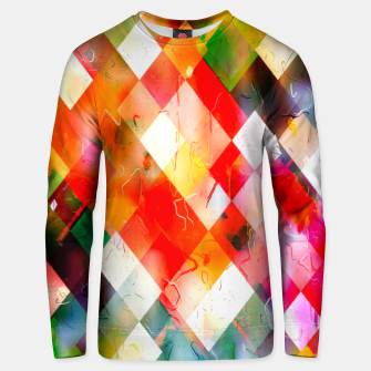 geometric pixel square pattern abstract in red purple green yellow Unisex sweater thumbnail image