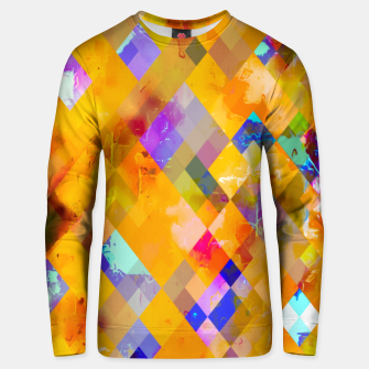Thumbnail image of geometric pixel square pattern abstract in orange yellow blue Unisex sweater, Live Heroes