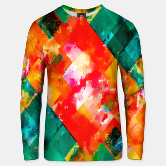 Thumbnail image of geometric pixel square pattern abstract in orange green red Unisex sweater, Live Heroes