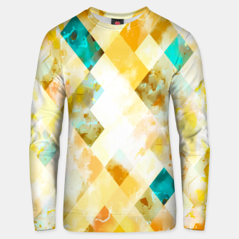 Thumbnail image of geometric pixel square pattern abstract in yellow brown blue Unisex sweater, Live Heroes