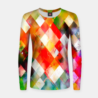 geometric pixel square pattern abstract in red purple green yellow Women sweater thumbnail image