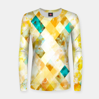 geometric pixel square pattern abstract in yellow brown blue Women sweater thumbnail image