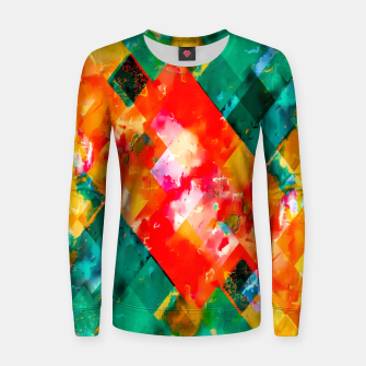 geometric pixel square pattern abstract in orange green red Women sweater thumbnail image