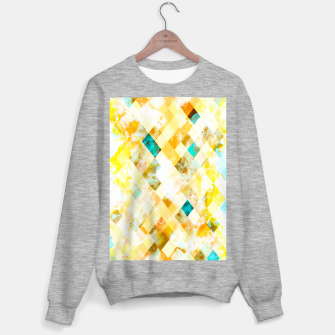 geometric pixel square pattern abstract in yellow brown blue Sweater regular thumbnail image