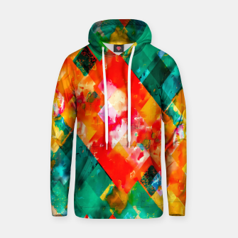 geometric pixel square pattern abstract in orange green red Hoodie thumbnail image