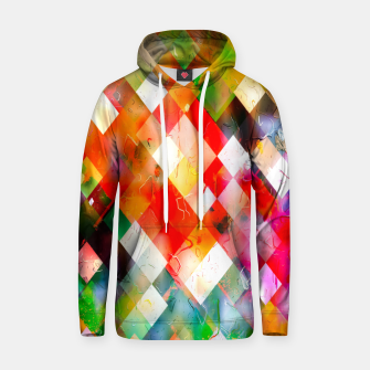 geometric pixel square pattern abstract in red purple green yellow Hoodie thumbnail image