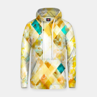 geometric pixel square pattern abstract in yellow brown blue Hoodie thumbnail image