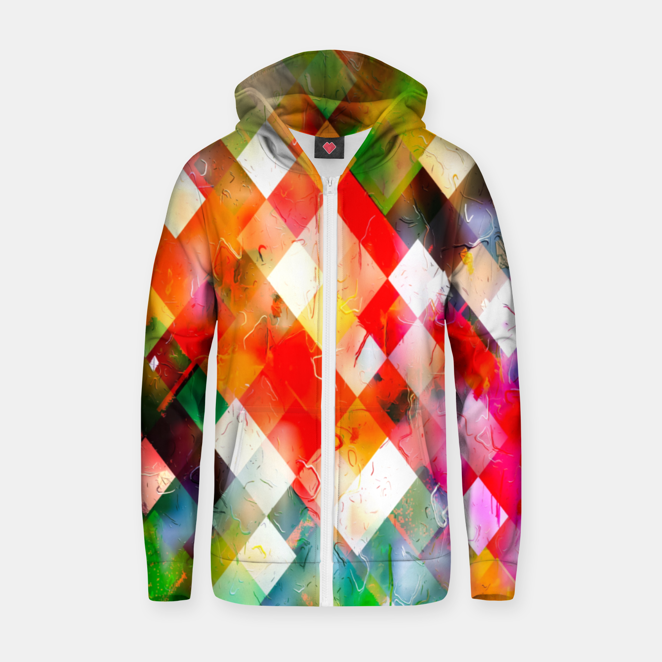Image of geometric pixel square pattern abstract in red purple green yellow Zip up hoodie - Live Heroes