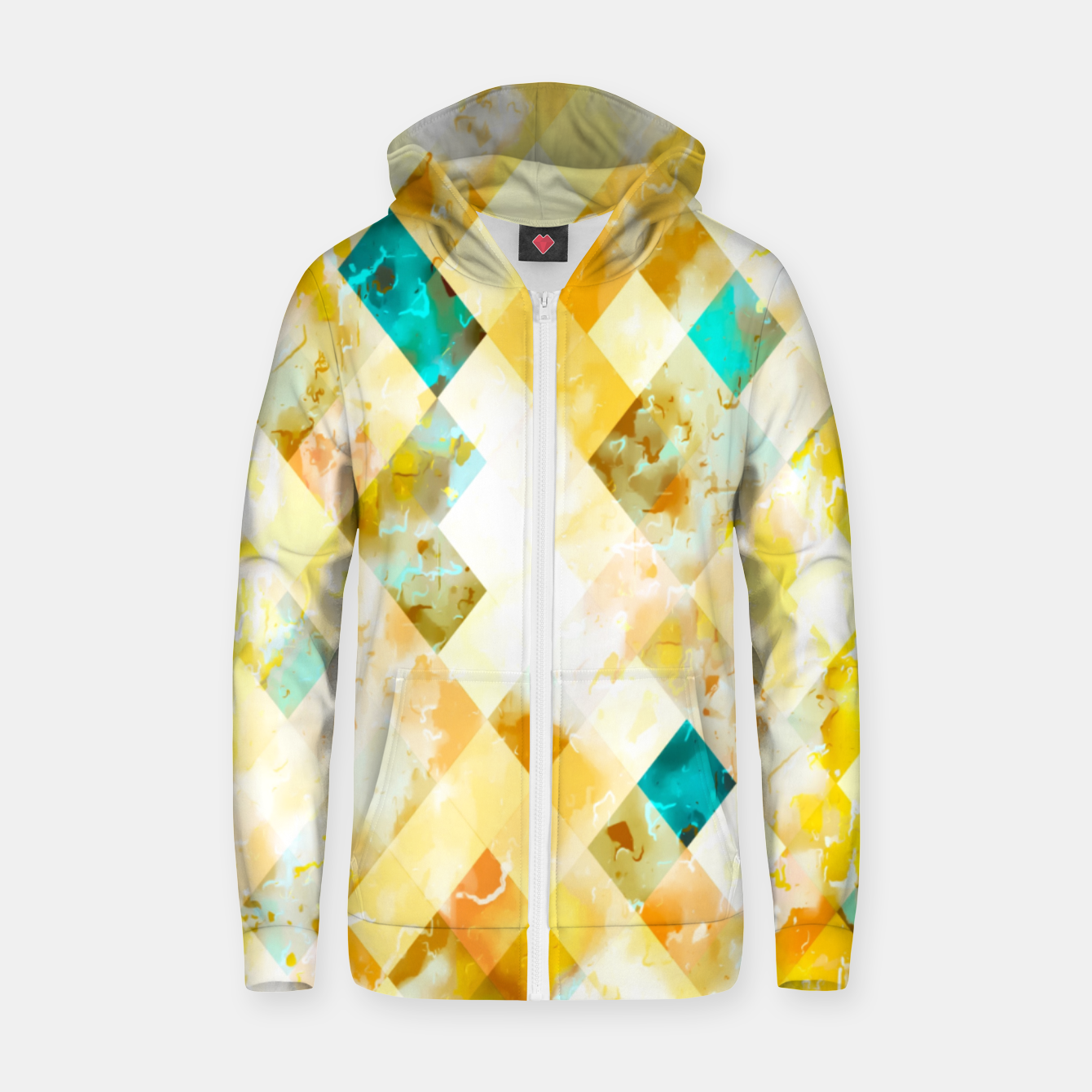 Image of geometric pixel square pattern abstract in yellow brown blue Zip up hoodie - Live Heroes