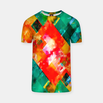 geometric pixel square pattern abstract in orange green red T-shirt thumbnail image