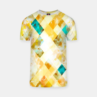 geometric pixel square pattern abstract in yellow brown blue T-shirt thumbnail image