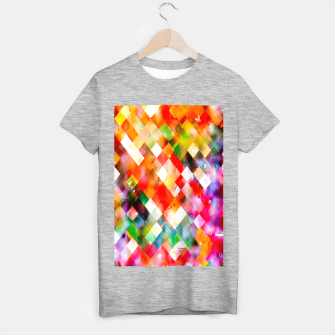 geometric pixel square pattern abstract in red purple green yellow T-shirt regular thumbnail image