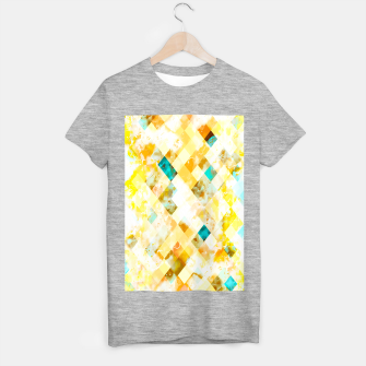 geometric pixel square pattern abstract in yellow brown blue T-shirt regular thumbnail image