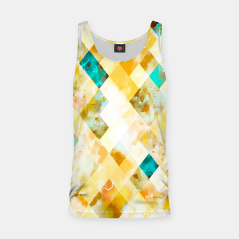geometric pixel square pattern abstract in yellow brown blue Tank Top thumbnail image