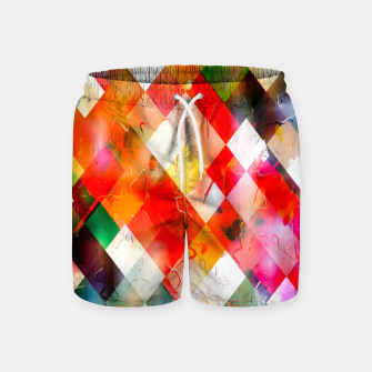geometric pixel square pattern abstract in red purple green yellow Swim Shorts thumbnail image