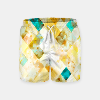 geometric pixel square pattern abstract in yellow brown blue Swim Shorts thumbnail image