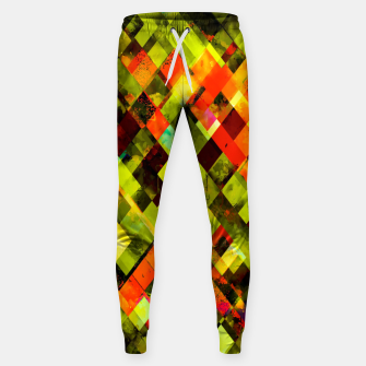 Thumbnail image of geometric pixel square pattern abstract in green yellow orange Sweatpants, Live Heroes
